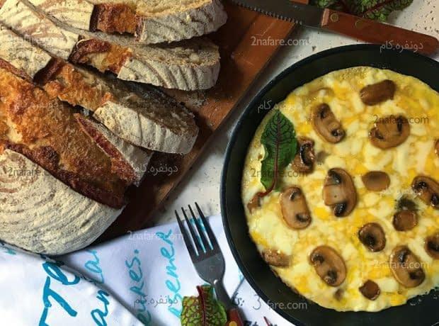 املت قارچ و پنیر