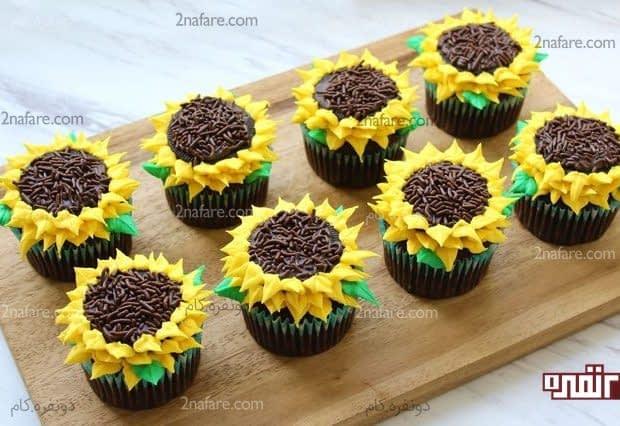 آموزش تزیین کاپ کیک با طرح گل آفتاب گردان