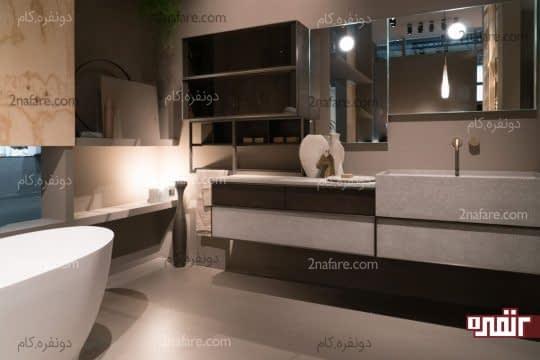 آینه ها و نورهای مخفی برای تامین روشنایی فضای حمام