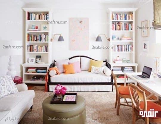 اتاقی قابل تبدیل به اتاق مهمان با دو کاناپه برای خواب