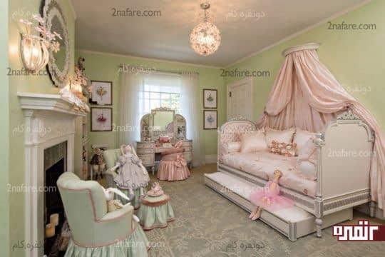 اتاق خواب دخترانه با تخت خواب کشویی