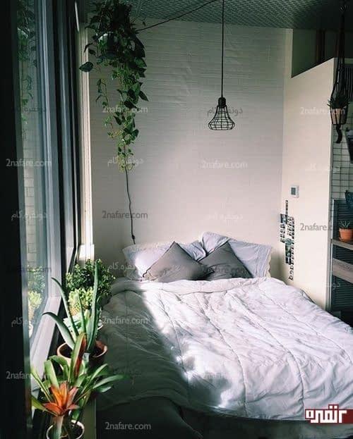 اتاق خواب دنج و آرامبخش با استفاده از گل و گیاه