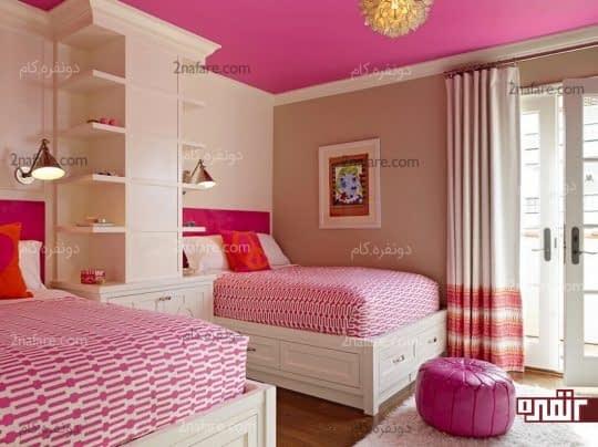 اتاق خواب دوتخته صورتی رنگ