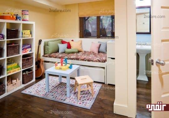 اتاق خواب مهمان با استفاده از تخت کشویی