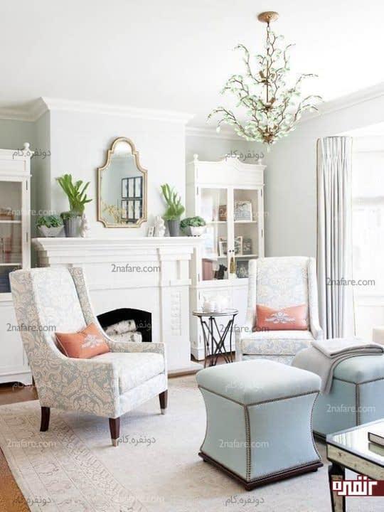 اتاق نشیمن آرامش بخش با رنگ های پاستلی و لطیف