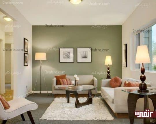 اختصاص رنگ مناسب برای دیوار مرکزی اتاق نشیمن