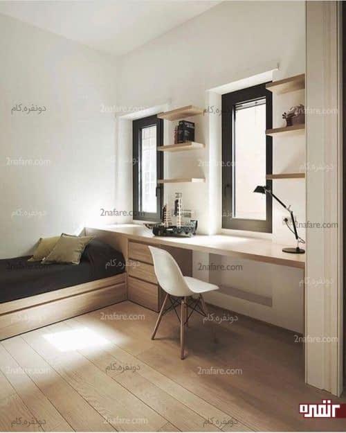 اختصاص فضای زیر پنجره و بالای تخت به میز کار در اتاق مهمان به سبک مینیمال