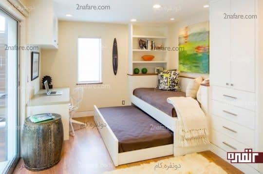 استفاده از تخت خواب کشویی برای صرفه جویی در فضا