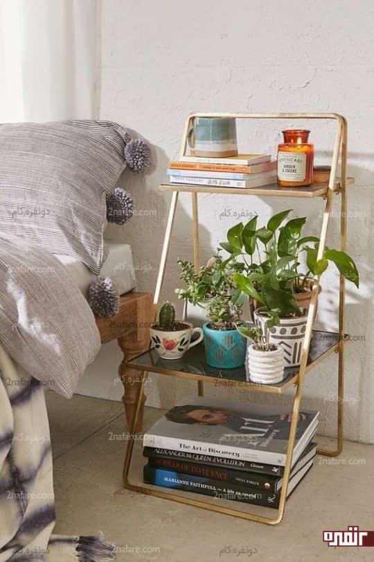 استفاده از شلف نردبانی بعنوان میز کنار تخت
