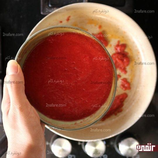 اضافه کردن آب گوجه