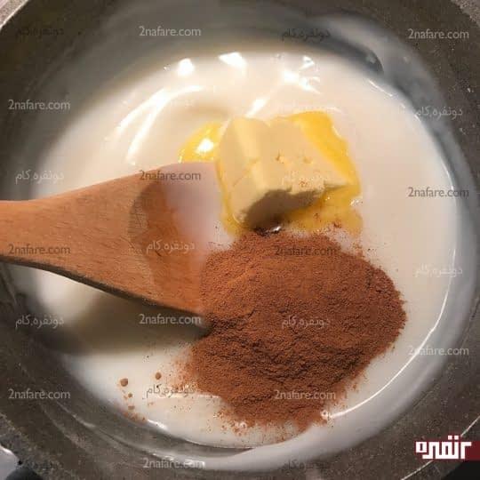 اضافه کردن کره و دارچین