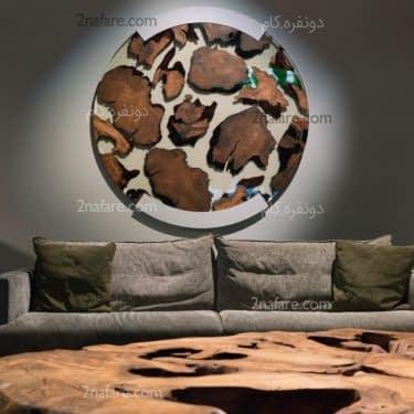 تابلوی زیبای چوبی با طرحی متفاوت برای اتاق نشیمن