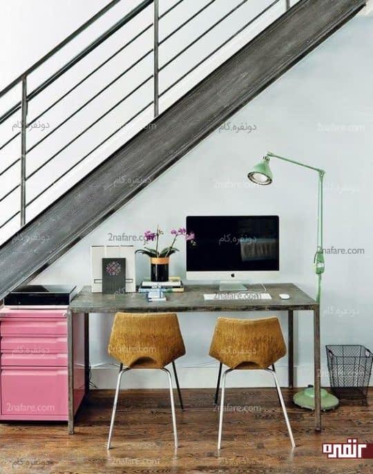 تامین روشنایی کافی در فضای زیر پله برای قرار دادن میز کار