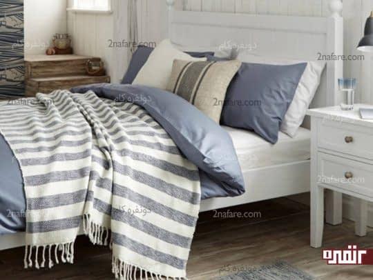 ترکیب رنگ های سفید و آبی در دکور اتاق خواب