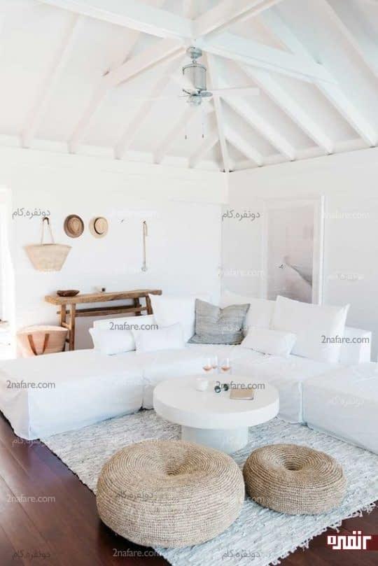 ترکیب سفید و اکسسوری های جذاب در دکوری تابستانه و جذاب