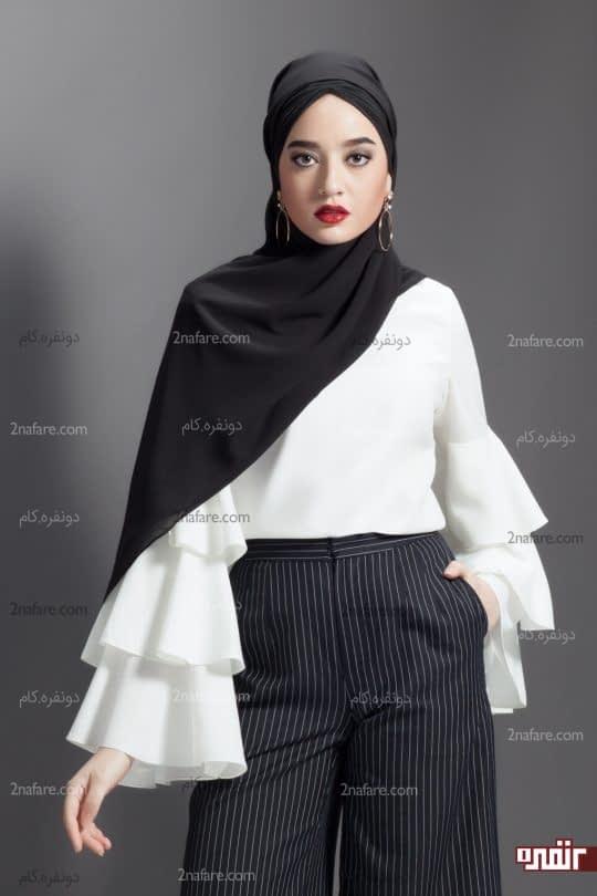 ترکیب شومیز سفید با روسری و شلوار مشکی