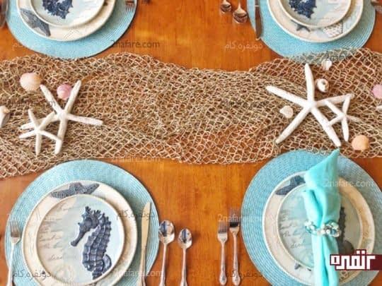 تزیینات زیبای دریایی برای میز غذاخوری
