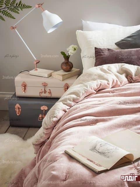 تزیین دکور اتاق خواب با مدلهای خلاقانه و متفاوت میز پاتختی