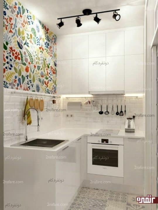 تزیین دکور دیوار آشپزخانه مینیمال با کاغذ دیواری