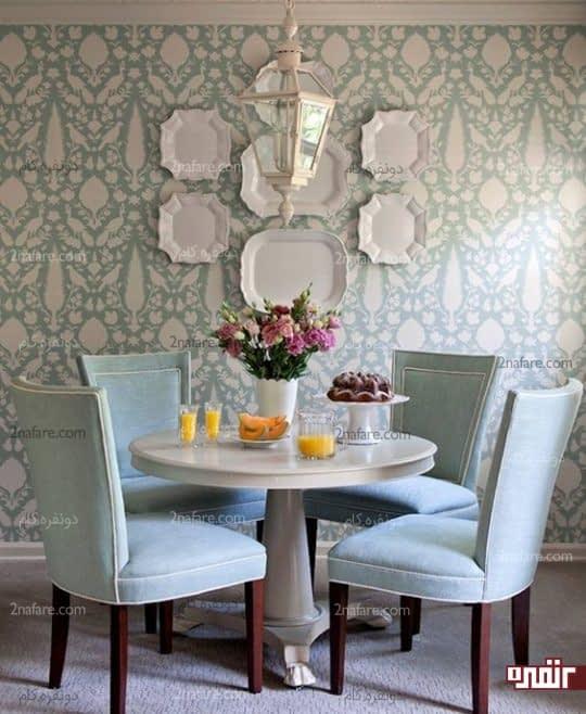 تزیین دیوار اتاق غذاخوری با دیوارکوب های ساده و زیبا