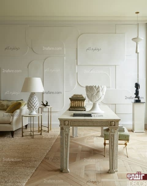 تزیین مدرن دیوارها با پانل های دیواری هندسی در رنگ هنای خنثی