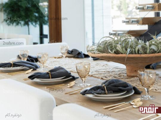 تزیین میز غذاخوری با گیاهان هوازی