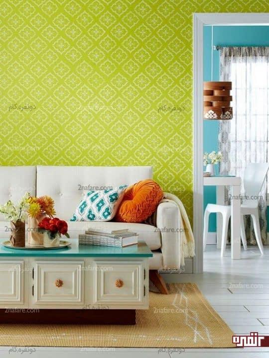 تغییر نمای دیوار با رنگ های روشن و جذاب