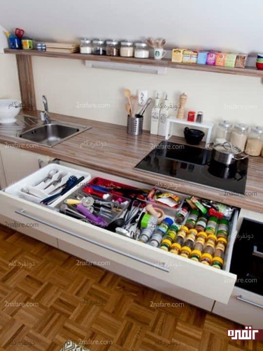 تقسیم بندی فضای داخل کشوها برای قرار دادن لوازم آشپزخانه