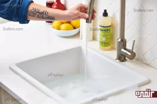 تمیز کردن سینک ظرفشویی گرانیتی سفید