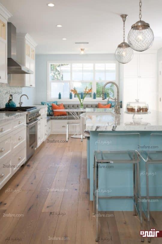 جزیره ی رنگی در دکوراسیون آشپزخانه