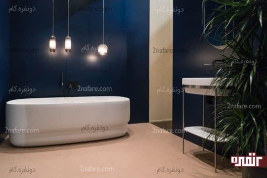 حمام مدرن به رنگ آبی تیره