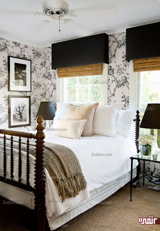 در نظرگرفتن فضای باز در اتاق مهمان با قرار دادن تخت در کنج اتاق