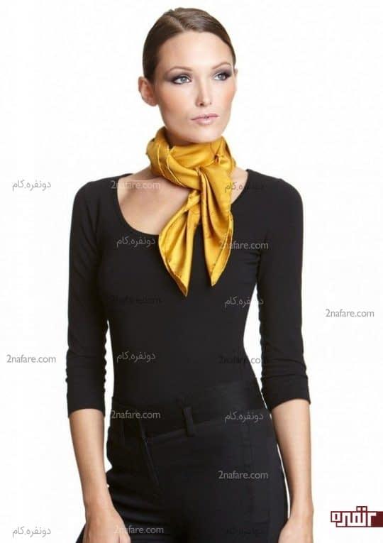 دستمال گردن و بلوز ساده