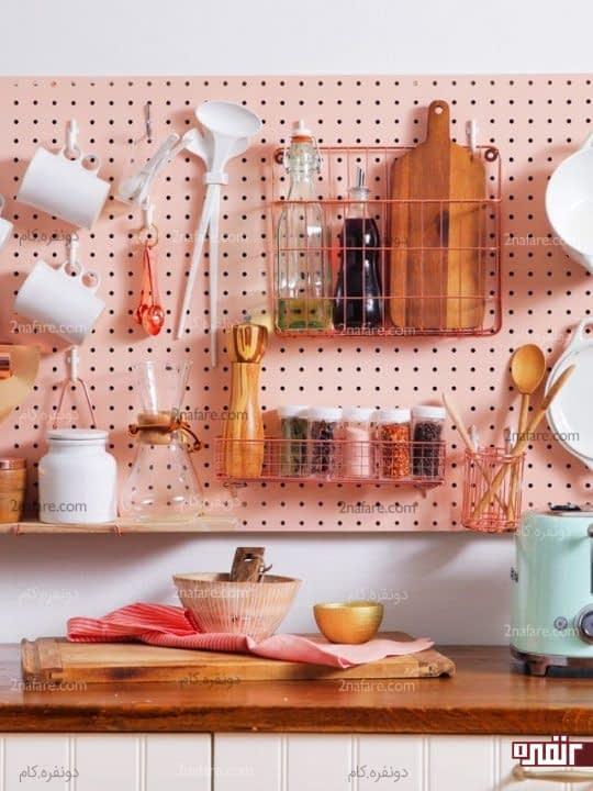 دسته بندی و آویزان کردن وسایل آشپزخانه روی دیوار