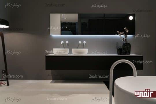 دکوراسیون حمام با رنگ های سفید و مشکی