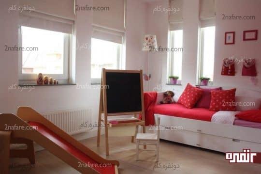دکوراسیون داخلی اتاق خواب کودکانه با تخت کشویی