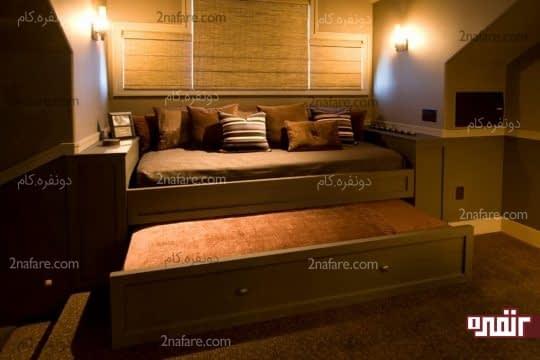 دکوراسیون مدرن و جذاب در اتاق خواب با بکارگیری تخت خواب های متفاوت