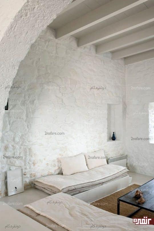 دیوارهای سنگی طبیعی با رنگ سفید