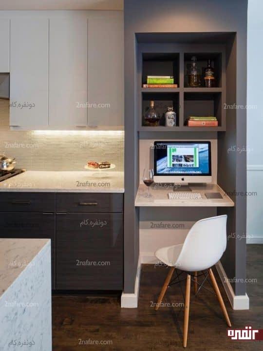 دیوار بین آشپزخانه و میز کار