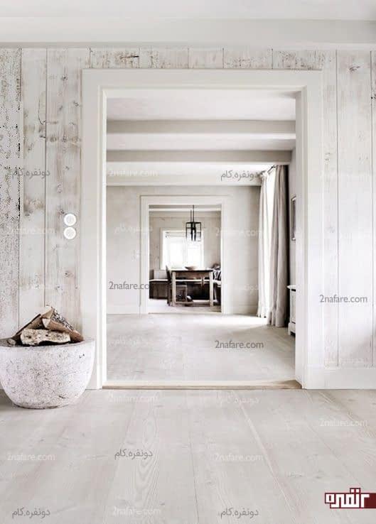دیوار و کفپوش های چوبی سفید