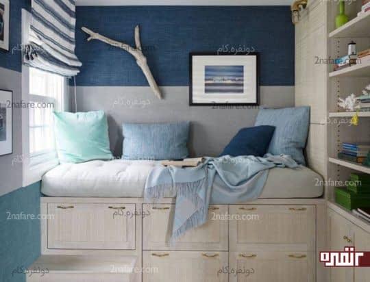 رنگ آمیزی دیوارها با دو رنگ آبی و سفید