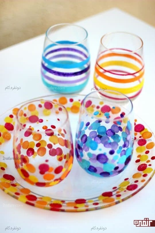 رنگ کردن ظروف شیشه ای ساده