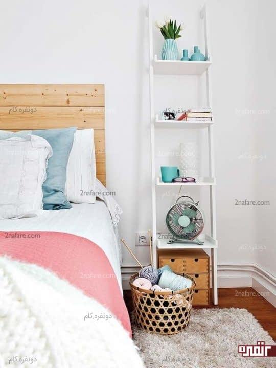 شلف نردبانی بلند بعنوان میز کنار تخت