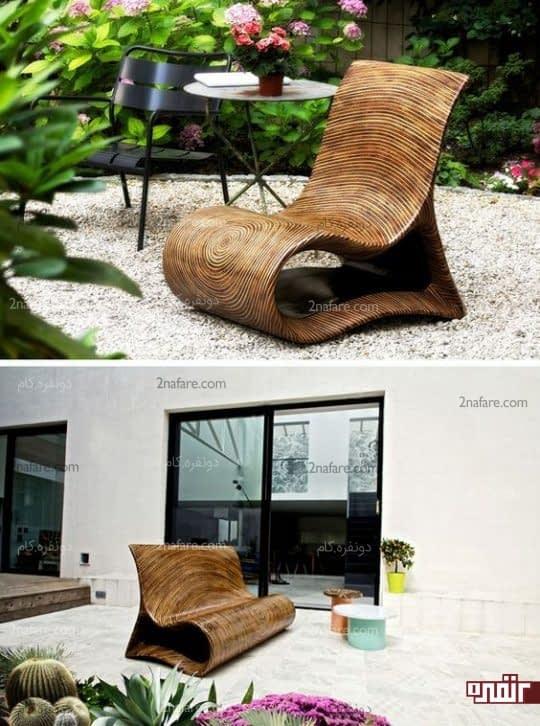 صندلی های مدرن چوبی برای دکوراسیون حیاط خلوت