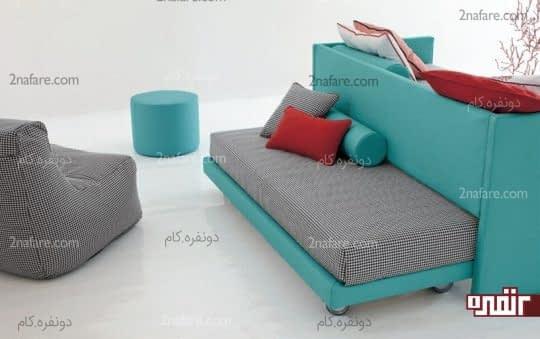 طراحی تخت خواب در زیر مبلمان