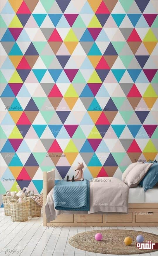 طراحی دیوار اتاق کودک با کاغذ دیواری هندسی