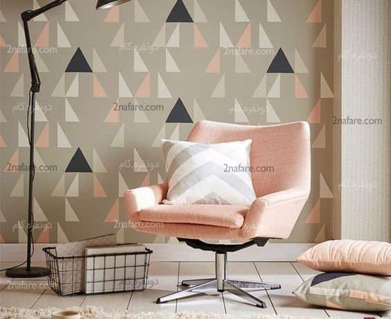 طراحی دیوار با کاغذ دیواری هندسی