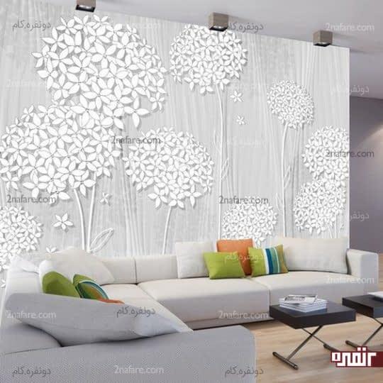 طراحی زیبا و جذاب دیوار کانونی اتاق نشیمن
