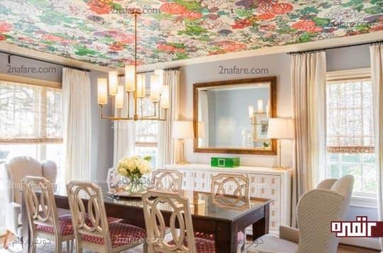 طراحی سقف غذاخوری با رنگهای شاد