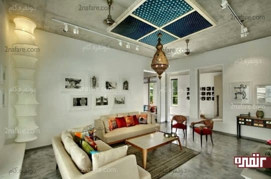 طراحی سقف کاذب سه بعدی اتاق نشیمن